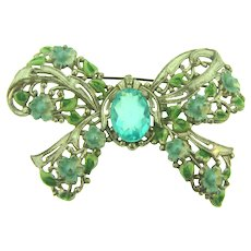 Vintage large Bow Brooch with enamel and blue Lucite stone