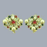 Vintage rhinestone clip-on Earrings with crystal, red, green rhinestones and faux pearls