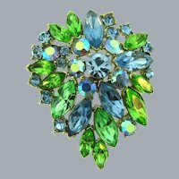 Vintage 1960's rhinestone Brooch with blue and green colors
