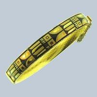 Vintage gold tone Bangle Bracelet with black enamel design