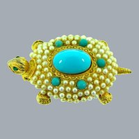 Vintage figural turtle Brooch with faux pearls, turquoise colored beads and cabochon and rhinestone eyes