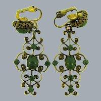 Vintage clip- on dangling Earrings with jade stones
