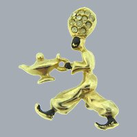 Vintage small figural genie Scatter Pin with enamel and crystal rhinestones