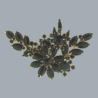 Vintage large black rhinestone floral Brooch