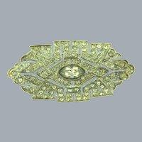 Vintage Art Deco pot metal Brooch with crystal rhinestones