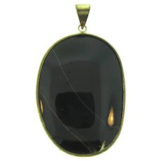 Vintage large banded oval agate stone Pendant