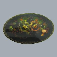 Vintage Russian black lacquer large oval Brooch with floral design