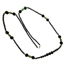 Vintage long black glass and silver tone beaded Necklace