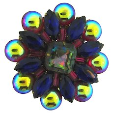 Vintage unusual circular Brooch with reflective red, blue, pink and smoky rhinestones and cabochons