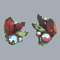 Vintage 1960's rhinestone clip-on Earrings in red, pink and smoky colors