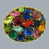 Vintage large oval multicolored domed Brooch