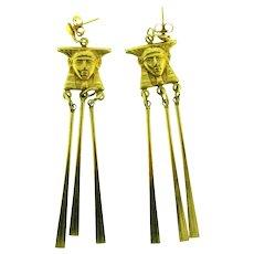 Vintage Egyptian Revival dangling Earrings for pierced ears