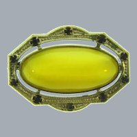 Vintage early small Brooch with yellow glass stone and blue rhinestones