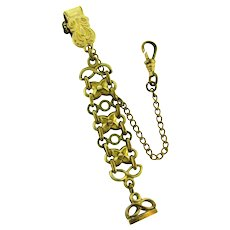 Signed DFB gold filled Watch Fob and Chain