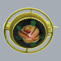 Vintage small enamel rose Scatter Pin