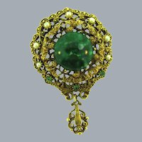 Vintage Etruscan style layered Brooch with mottled green glass cabochon, green rhinestones and faux pearls