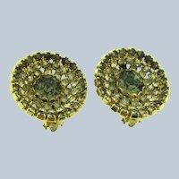 Vintage circular clip-on Earrings width smoky and crystal rhinestones