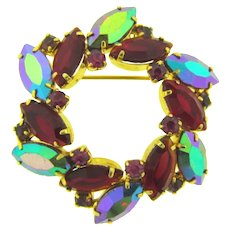 Vintage circular 1960's wreath Brooch with red, pink and red AB rhinestones
