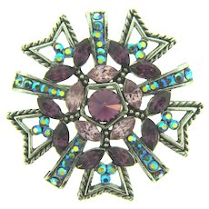 Vintage silver tone Brooch with purple and blue AB rhinestones