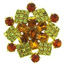 Unusual vintage rhinestone Brooch in crystal, topaz and orange colors