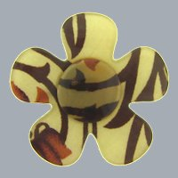 Vintage large fabric Lucite flower Brooch