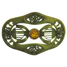 Vintage gold tone Sash Pin with center topaz rhinestone