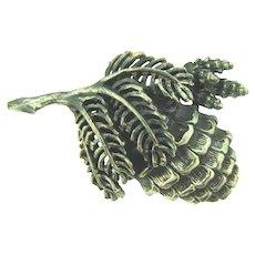 Signed Botticelli silver tone figural pine cone Brooch