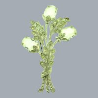 Vintage Pot Metal large floral Brooch with crystal rhinestones and clear Lucite buds