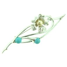 "Signed Sarah Cov 'Blue Note"" silver tone Brooch with blue beads and faux pearl"