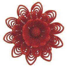Vintage large red plastic flower Brooch