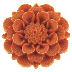 Vintage early plastic layered orange floral Brooch