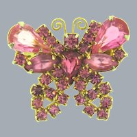 Vintage figural butterfly Brooch with pink rhinestones