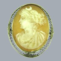 Vintage large shell cameo brooch