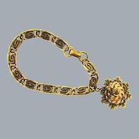 Vintage copper link Bracelet with single copper leaf charm