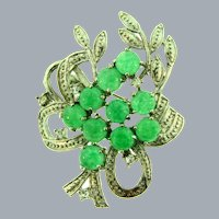 Vintage silver tone floral Brooch with chrysoprase stones and tiny crystal rhinestones