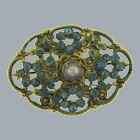 Vintage gold tone floral Brooch with enamel, blue and purple rhinestones