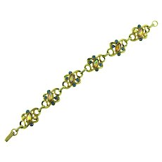 Vintage link gold tone Bracelet with rhinestones and faux pearls