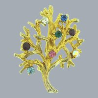Vintage gold tone tree of life rhinestone Brooch