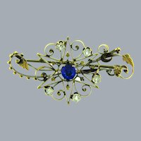 Vintage early figural star Brooch with crystal and blue rhinestones
