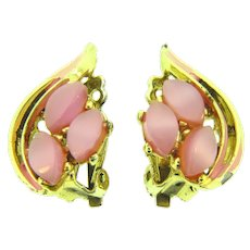 Vintage pink enamel and pink thermoset tile clip-on Earrings