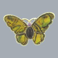 Vintage figural butterfly Brooch with enamel and rhinestones