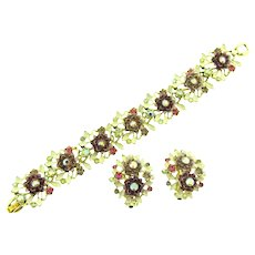 Signed BSK beautiful enamel and rhinestone floral Bracelet and matching clip-on Earrings