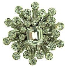 Vintage mid Century star burst Brooch with crystal rhinestones