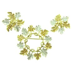 Signed Sarah Coventry oak leaf wreath Brooch and matching clip-on Earrings