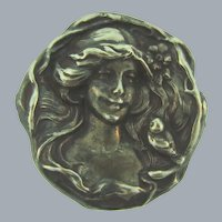 Vintage large Art Nouveau style silver tone metal cameo Brooch