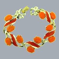Vintage gold tone link Bracelet with bright orange enamel and orange molded thermoset leaves