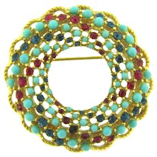 Signed Sarah Coventry 1965 Song of India Brooch with pink and blue rhinestones and blue beads