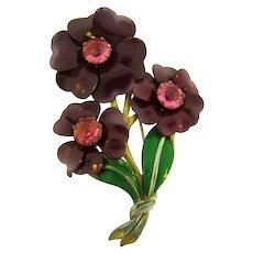 Vintage floral large enamel Fur Clip