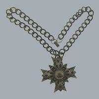 Vintage copper link Necklace with copper Maltese Pendant