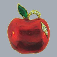 Vintage figural enamel and rhinestone apple Brooch